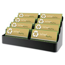 Deflect-O - 90804 - deflecto 4-Tier Business Card Holder - 3.9 x 7.9 x 3.6 - Plastic - 1 Each - Black