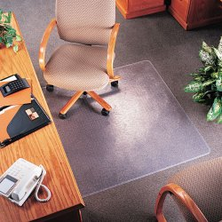 Deflect-O - CM14113 - deflecto Medium Pile Clear SuperMat - Carpet, Indoor - 48 Length x 36 Width - Lip Size 10 Length x 19 Width - Rectangle - Clear