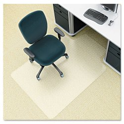 "Deflect-O - CM1K112PET - Deflect-o EnvironMat Low Pile Chair Mat with Lip - Carpeted Floor - 48"" Length x 36"" Width - Lip Size 12"" Length x 20"" Width - Polyethylene Terephthalate (PET) - Smoke"