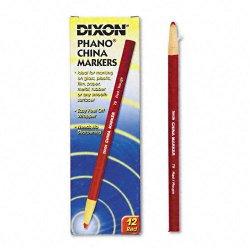 Dixon Ticonderoga - 00079 - Dixon Phano Non-Toxic China Marker - Red Lead - Red Barrel - 1 Dozen