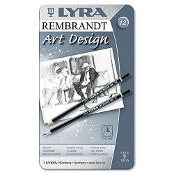 Dixon Ticonderoga - 1111120 - Lyra Art Design Hi-quality Graphite Pencils - 4 mm Lead Size - Black Lead - Black Wood Barrel - 12 / Set