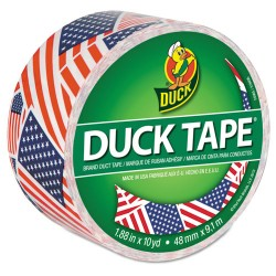 Duck - DUC283046 - Colored Duct Tape, 9 mil, 1.88 x 10 yds, 3 Core, US Flag
