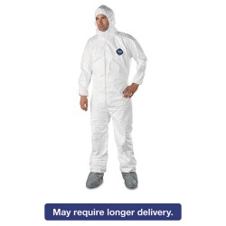 DuPont - 251-TY122S-L - Tyvek Elastic-Cuff Hooded Coveralls w/Boots, White, Large, 25/Carton