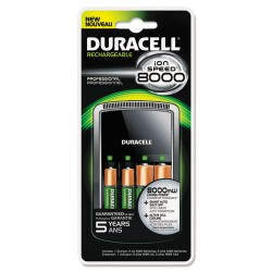 Duracell - CEF15 - Duracell Charger, AA/AAA, NIMH, Includes 4 AA Batteries, Ion Speed 8000