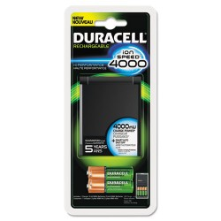 Duracell - 80232631 - ION SPEED 4000 Hi-Performance Charger, Includes 2 AA and 2 AAA NiMH Batteries