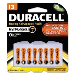 Duracell - DA13B8ZM09 - Button Cell Lithium Battery, #13, 8/Pk