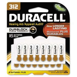Duracell - DA312B16ZM09 - Button Cell Hearing Aid Battery #312, 16/Pk