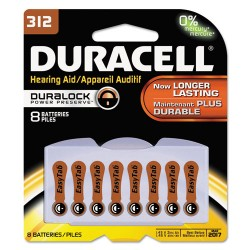 Duracell - DA312B8ZM09 - Button Cell Zinc Air Battery, #312, 8/Pk