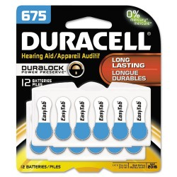 Duracell - DA675B12ZMR0 - Button Cell Hearing Aid Battery #675, 12/Pk