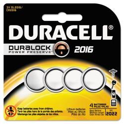 Duracell - DL2016B4PK - Duracell Lithium 3V Security Batteries - 90 mAh - CR2016 - Lithium (Li) - 3 V DC - 4 / Each