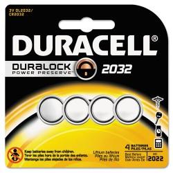 Duracell - DL2032B4PK - Duracell Coin Cell Lithium 3V Battery - DL2032 - 220 mAh - Lithium (Li) - 3 V DC - 4 / Each