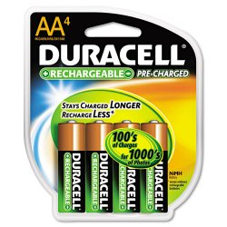 Duracell - DX1500R4 - AA Pre-Charged Rechargeable Battery, Duracell Rechargeable, Nickel-Metal Hydride, PK4