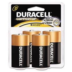 Duracell - MN1300R4Z - D Standard Battery, Duracell CopperTop, Alkaline, PK4