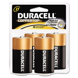 Duracell - MN1300R4Z - CopperTop Alkaline Batteries with Duralock Power Preserve Technology, D, 4/Pk