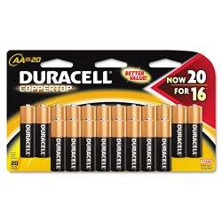 Duracell - MN1500B16A - CopperTop Alkaline Batteries with Duralock Power Preserve Technology, AA, 20/Pk