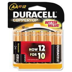Duracell - MN15RT12Z - CopperTop Alkaline Batteries, AA, 12/PK