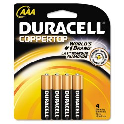 Duracell - MN2400B4Z - CopperTop Alkaline Batteries with Duralock Power Preserve Technology, AAA, 4/Pk