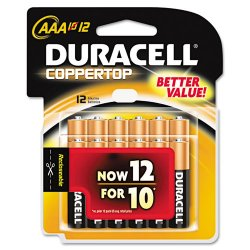 Duracell - MN24RT12Z - CopperTop Alkaline Batteries with Duralock Power Preserve Technology, AAA, 12/Pk