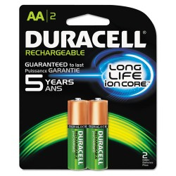 Duracell - DX1500B2N - Rechargeable NiMH Batteries, AA, 2/PK
