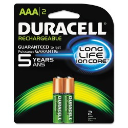 Duracell - DX2400B2N - Rechargeable NiMH Batteries, AAA, 2/PK