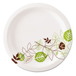 Dixie - UX7PATH - 6-7/8 Round Disposable Plate, White/Brown/Green; PK1000