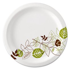 Dixie - UX7WS - 6-7/8 Round Disposable Plate, White/Brown/Green; PK500