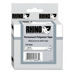 "DYMO - 18482 - Rhino Permanent Poly Industrial Label Tape, 3/8"" x 18 ft, White/Black Print"