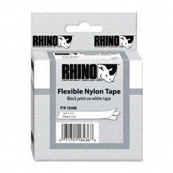 "DYMO - 18488 - Dymo Rhino Flexible Nylon Labels - 0.47"" Width x 11.48 ft Length - Thermal Transfer - White, Black - Nylon - 1 Each"