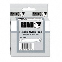 "DYMO - 18489 - Dymo RhinoPRO Flexible Wire & Cable Label Tape - 0.75"" Width x 11.48 ft Length - Thermal Transfer - White, Black - Nylon - 1 Each"