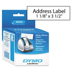 DYMO - 30252 - Dymo LabelWriter Address Labels - 1 1/8 Width x 3 1/2 Length - White - Paper - 350 / Roll