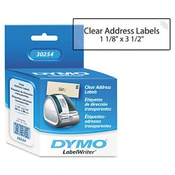 DYMO - 30254 - Dymo Clear Address Labels - 1 1/8 Width x 3 1/2 Length - Rectangle - Direct Thermal - Clear - 130 / Roll