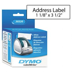 DYMO - 30320 - Dymo High-Capacity Address Labels - Permanent Adhesive - 1 1/8 Width x 3 1/2 Length - Rectangle - 1 Core - Direct Thermal - White - Paper - 260 / Roll