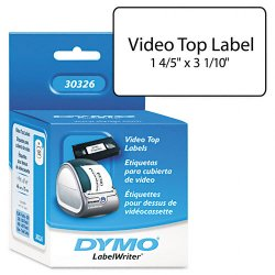 "DYMO - 30326 - Dymo Video Tape Label - 1.80"" Width x 3.10"" Length - 150 / Roll - Rectangle - Direct Thermal - White - 150 / Roll"