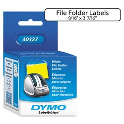 "DYMO - 30327 - Dymo LabelWriter File Folder Labels - 0.56"" Width x 3.43"" Length - 130 / Roll - Direct Thermal - White - 260 / Box"