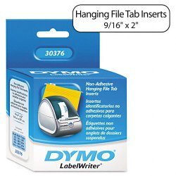 "DYMO - 30376 - Dymo Hanging File Tab Inserts - 0.56"" Width x 2"" Length - 260 / Roll - Direct Thermal - White - 260 / Roll"