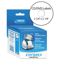 "DYMO - 30854 - Dymo CD/DVD Label(s) - 2.25"" Length - 160 / Roll - Direct Thermal - White - 160 / Box"