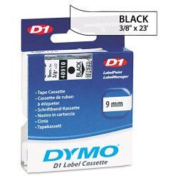 "DYMO - 40910 - Dymo Black on Clear D1 Label Tape - Semi-permanent Adhesive - ""0.38"" Width x 23 ft Length - Rectangle - Thermal Transfer - Clear - Polyester - 1 / Each"