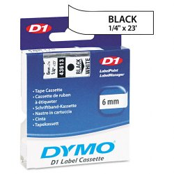 "DYMO - 43613 - Dymo D1 Electronic Tape Cartridge - 0.25"" Width x 23 ft Length - Thermal Transfer - White - Polyester - 1 Each"