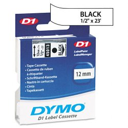 "DYMO - 45013 - Dymo Black on White D1 Label Tape - 0.50"" Width x 23 ft Length - Thermal Transfer - White - Polyester - 1 Each"
