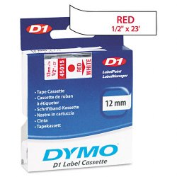 "DYMO - 45015 - Dymo Red on White D1 Label Tape - 0.50"" Width x 23 ft Length - Thermal Transfer - White - Polyester - 1 Each"