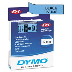 "DYMO - 45016 - Dymo D1 Electronic Tape Cartridge - 0.50"" Width x 23 ft Length - Thermal Transfer - Black, Blue - Polyester - 1 Each"