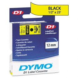"DYMO - 45018 - Dymo Black on Yellow D1 Label Tape - 0.50"" Width x 23 ft Length - Thermal Transfer - Yellow - Polyester - 1 Each"