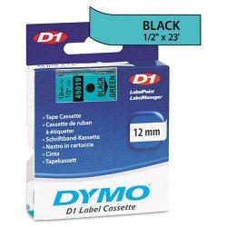 "DYMO - 45019 - Dymo Electronic Labeler D1 Label Cassette - 0.50"" Width x 23 ft Length - Thermal Transfer - Black, Green - Polyester - 1 Each"