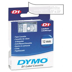 "DYMO - 45020 - Dymo D1 Electronic Tape Cartridge - 0.50"" Width x 23 ft Length - Thermal Transfer - Clear - Polyester - 1 Each"