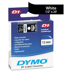"DYMO - 45021 - Dymo White on Black D1 Label Tape - 0.50"" Width x 23 ft Length - Thermal Transfer - White - Polyester - 1 Each"