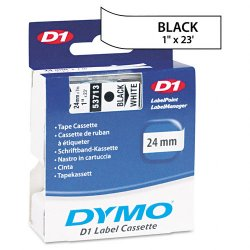 "DYMO - 53713 - Dymo D1 Electronic Tape Cartridge - 1"" Width x 23 ft Length - White - 1 Each"