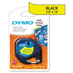 "DYMO - 91332 - Dymo LetraTag Label Maker Tape Cartridge - 0.50"" Width x 13 ft Length - Direct Thermal - Yellow - Polyester - 1 Each"