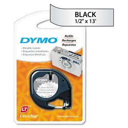"DYMO - 91338 - Dymo LetraTag 91338 Metallic Tape - 0.50"" Width x 13 ft Length - Direct Thermal - Silver - 1 Each"
