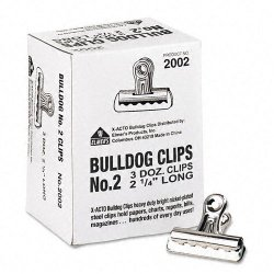 Elmer's - 2002 - Elmer's Grip Bulldog Clips - 2.3 Width - 0.50 Size Capacity - 36 / Box - Silver - Steel