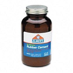 Elmer's - 231 - Elmer's ROSS 8 oz Bottle with Brush Rubber Cement - 8 oz - 1 Each - Brown